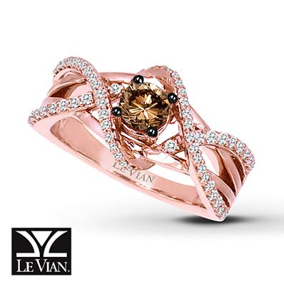 Chocolate Diamond Ring 3/4 ct tw Round-Cut 14K Strawberry Gold®Bling, Diamond Rings, Diamonds Rings, Chocolates Diamonds, 14K Strawberries, Jewelry, Levian Chocolates, Rose Gold, Le Your