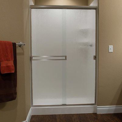 "White River Bath Taneycomo 46"" x 65.75"" Bypass Shower Slider Trim Finish: Brushed Nickel, Glass Type: Clear"
