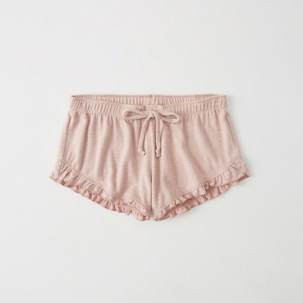 Abercrombie & Fitch Ruffle Lounge Shorts ($30) ❤ liked on Polyvore featuring shorts, light pink, frilly shorts, flounce shorts, ruffle trim shorts, light pink shorts and ruffle shorts