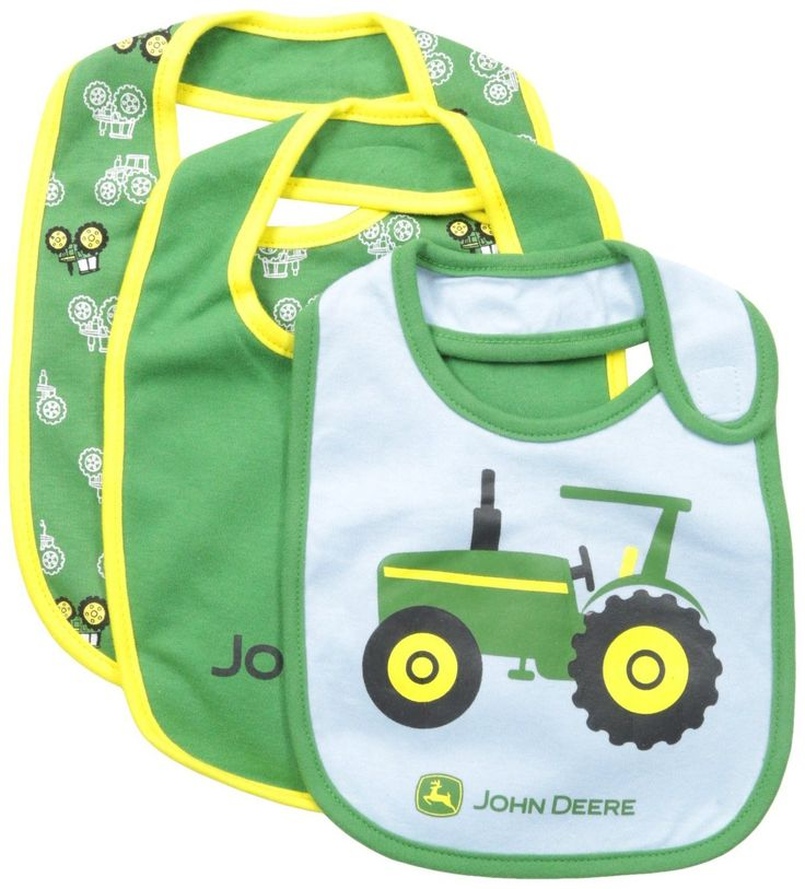 Set of 3 bibs with side velcro closure. Spill-proof and washable. 100% Cotton Imported Machine Wash Classic John Deere for younger children Tagless Made in China