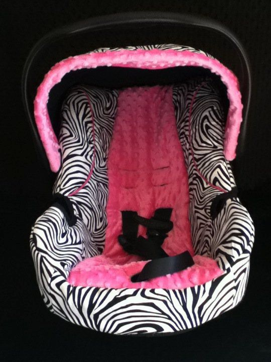 Hot Pink and Zebra Baby Car Seat Cover by jennirolli5 on Etsy, $70.00