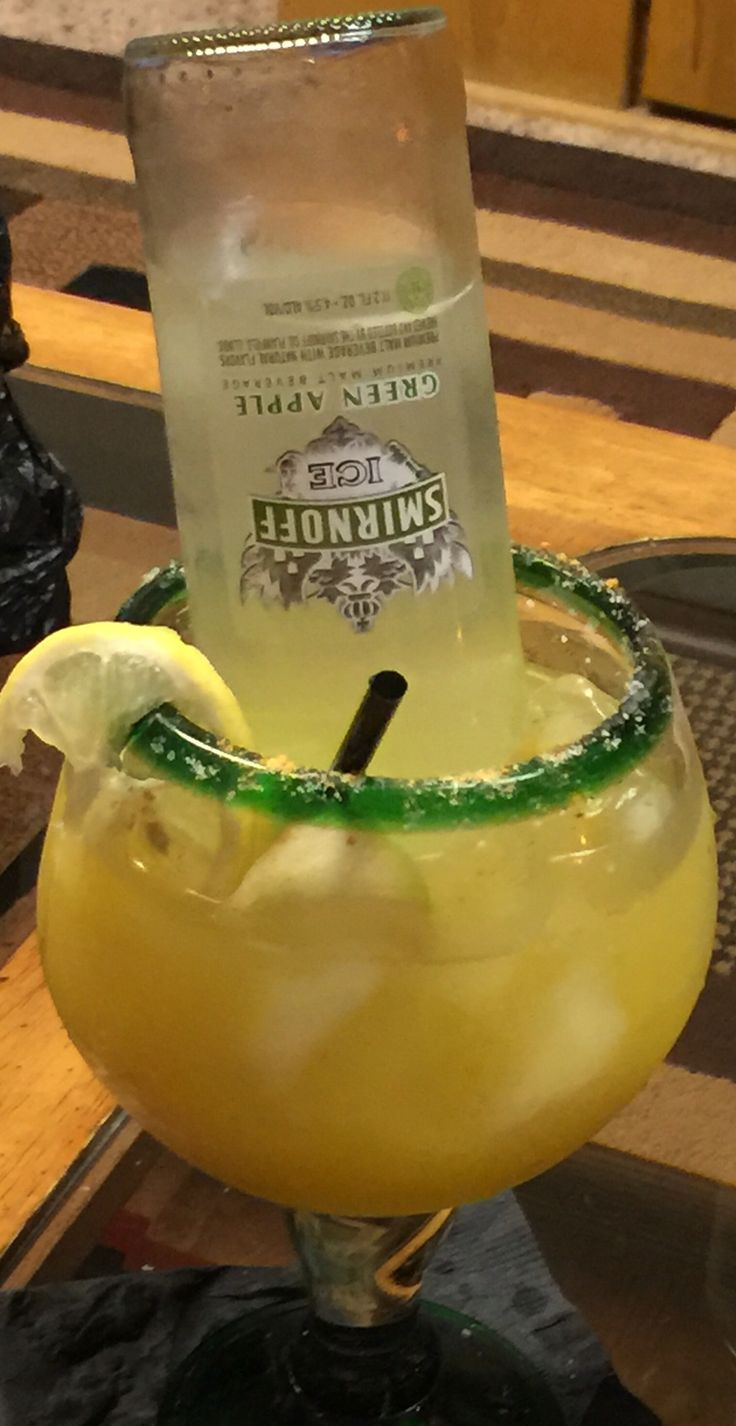 Apple Seagrams Tequila Rita   12 ounce bottle Seagrams GreenApple wine cooler Sliced green apples 3 //shots of tequila of choice. 1/2 cup pineapple juice 1/2 cup lemonade  Cubes of ice or crushed ice