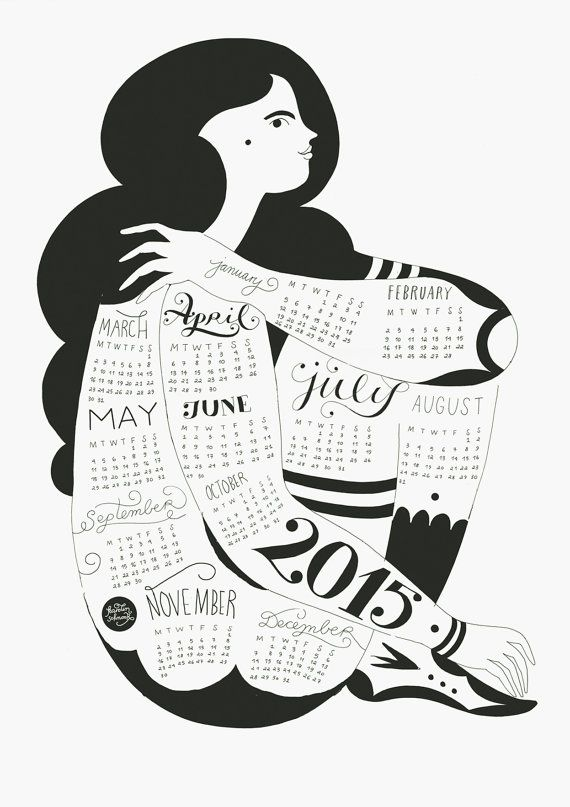 Wall Calendar 2015 by KarolinSchnoor on Etsy