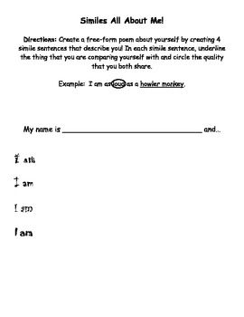 Simile Poem - All About Me! *Your students will create a free-form poem where they describe themselves using similes. Included are a directions handout as well as a rubric. Super fun! *