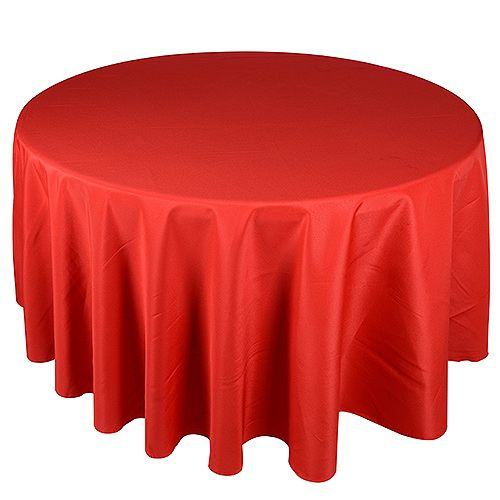 90 Inch Round Tablecloths Red ( Width: 90 Inch | Round ) - BBCrafts - Wholesale Ribbon, Tulle Fabrics, Wedding Supplies, Tablecloths & Floral Mesh at Best Prices