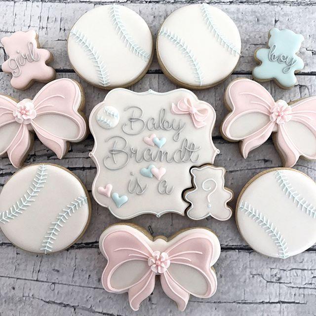 Baseballs and Bows gender reveal cookies...@swordssugars