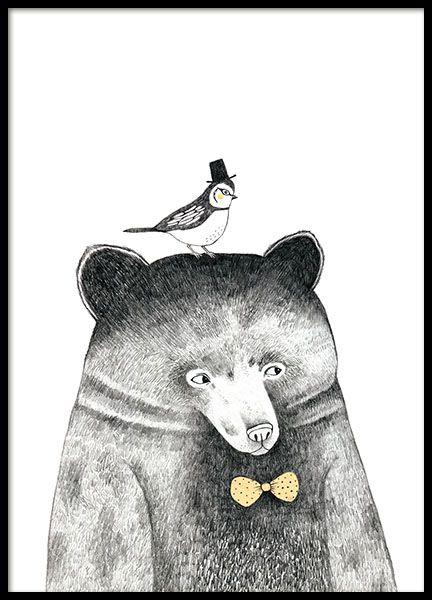 Een poster met een interessante en mooie illustratie van een beer en een vogel, erg schattig samen. Perfect om te combineren met andere poster met illustraties of tekst.www.desenio.nl