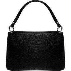 Czarna torebka na ramię tłoczona na wzór skóry krokodyla - czarny