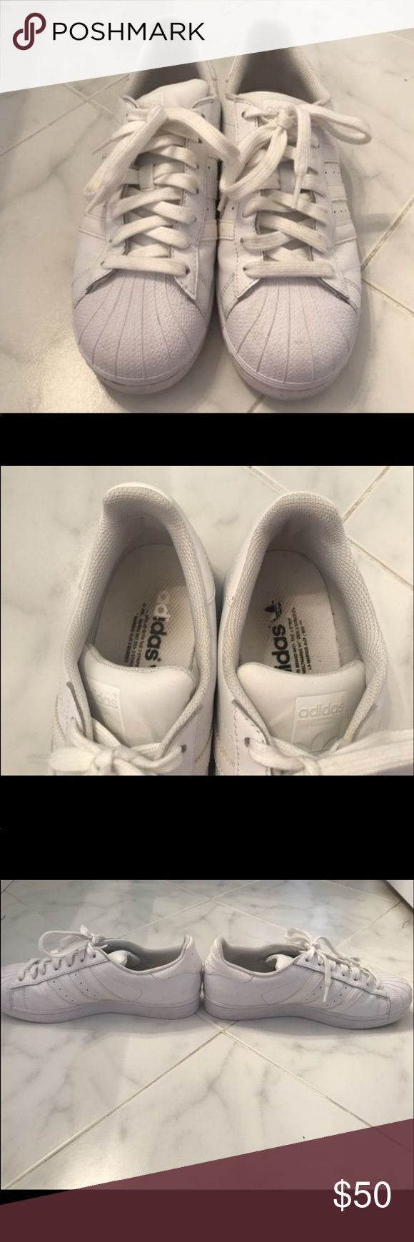 All White adidas Superstars All white Adidas Superstars. Size 10 in women's. adidas Shoes Sneakers