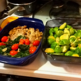 : lemon Brussels sprouts, chickpeas with chicken sausage and parmesan ...