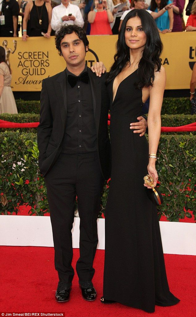 Red carpet perfection: Kunal Nayyar with his wife, Neha Kapur who was Miss India 2006 at the 2015 Screen Actors Guild Awards in Los Angeles