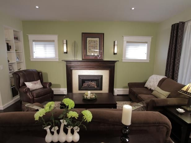 This is exactly the makeup of my front room with the fireplace and the two little windows. Problem is where to put the t.v. I have it where the chair on the right is but, don't like it.