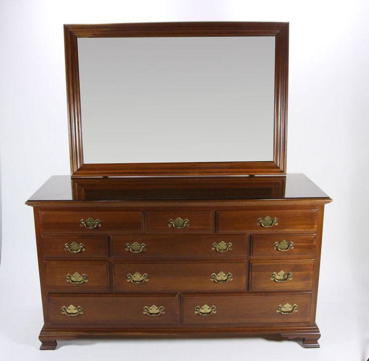 Images Photos Ethan Allen Georgian Court Triple Dresser With Mirror In Cherry Wood Drawer