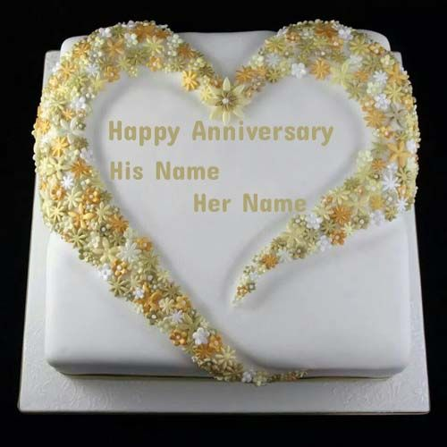 Write Name On Flower Decorated Anniversary CakeOnline