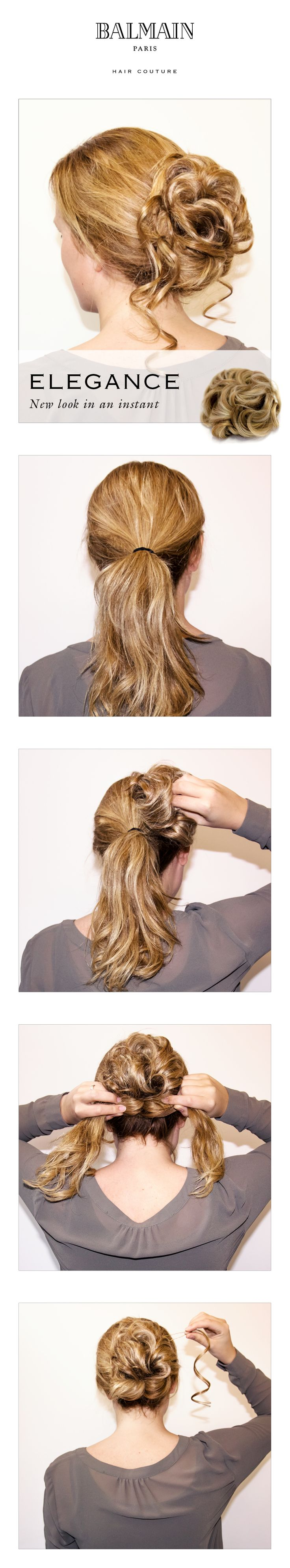 Easy sophisticated updo step-by-step!  http://www.balmainhair.com/int/hair-extensions/collections/collectionselegance.html