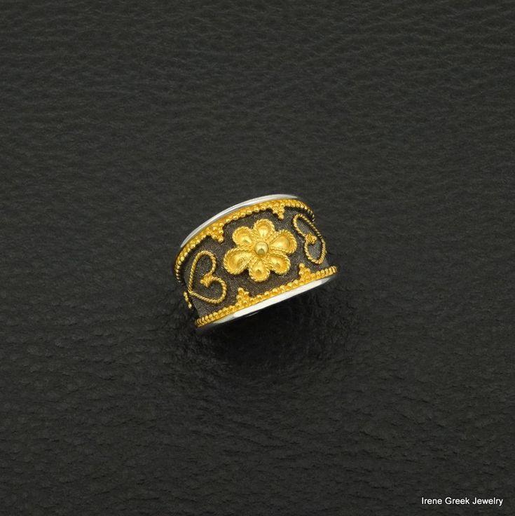 BYZANTINE RING 925 STERLING SILVER 22K GOLD & RHODIUM PLATED GREEK ART LUXURY #IreneGreekJewelry #Band