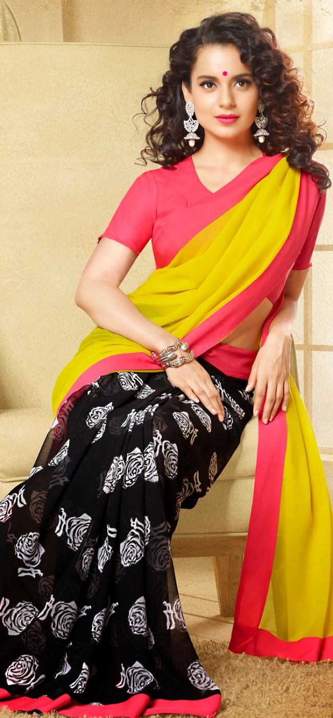 Kangana Ranaut in neon yellow saree: KSR2597
