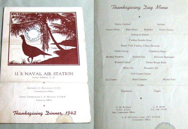 Pearl Harbor Naval Base, Hawaii, 1942: | 14 Vintage Thanksgiving Menus, 1895-1949