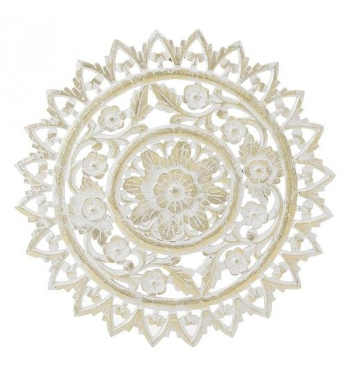 WOODEN WALL DECORATION IN WHITE_GOLDEN COLOR D60