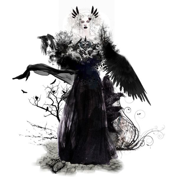 And all of flames shall burn with the ravens dark by matildaaah on Polyvore featuring art