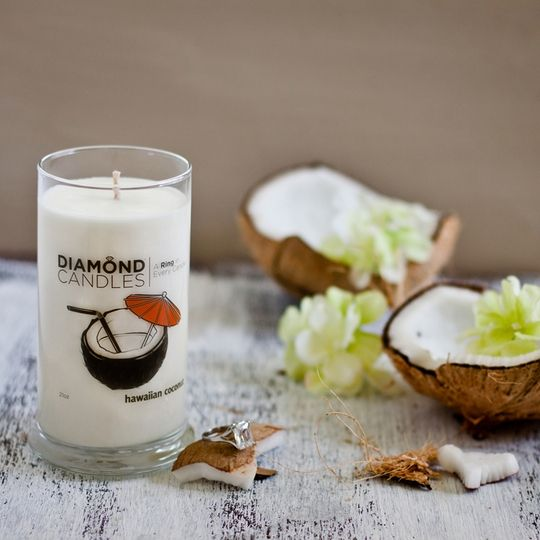So here's the skinny on Diamond Candle's: every candle is a little game! Hidden within every luxurious scent is a ring worth $10, $100, $1,000, or $5,000! No matter what, you'll enjoy the smell of fresh coconut in this candle. You'll have to resist pulling out a straw when you breathe in its pina colada scent.