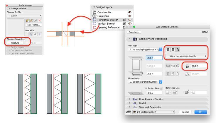 Maak met een Complex Profile een wand met één variabele schil. Selecteer een Composite die je wilt aanpassen en in Design > Complex Profiles > Profile Manager kun je klikken op Capture. Kort vervolgens de Fills in met de Marquee (want een Complex Profile kan alleen groter gemaakt worden) en verplaats de lijnen van de Horizontal Stretch naar de isolatie schil. Kies in de wandinstellingen voor het Complex Profile en je kunt de (totaal-) dikte instellen.