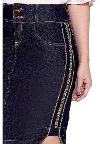 0a5834c5af Saia Midi Justa Detalhe Em Corrente Lateral Titanium Jeans (TTN23805) em  2019