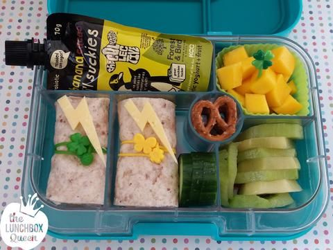 Rio Olympics bento box - Jamaica inspired with cheese lightning bolts for Usain Bolt! Yumbox and accessories available in New Zealand from www.thelunchboxqueen.co.nz. Lunchbox Inspiration – The Lunchbox Queen