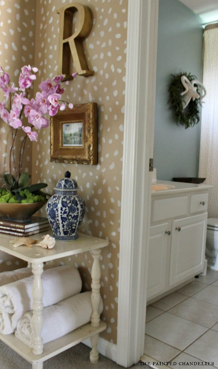 Antelope Inspired Hallway Makeover & Royal Studio Stencils Cheetah Spots Wall Stencil Review~ The Painted Chandelier blog