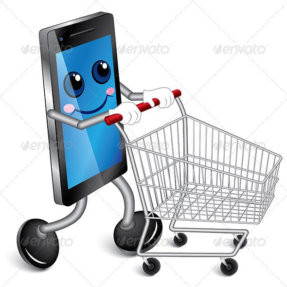 Image result for smart phone shopping cartoon