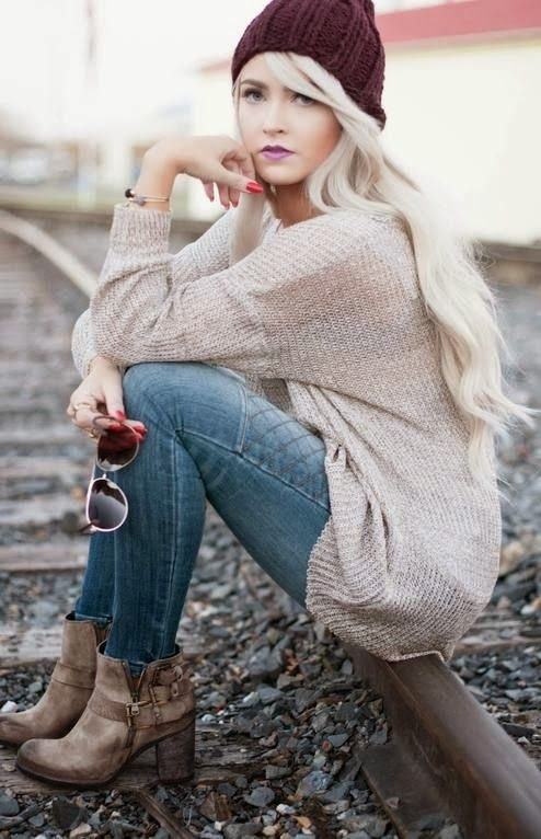 Long Sweater With Jeans And Ankle Boots