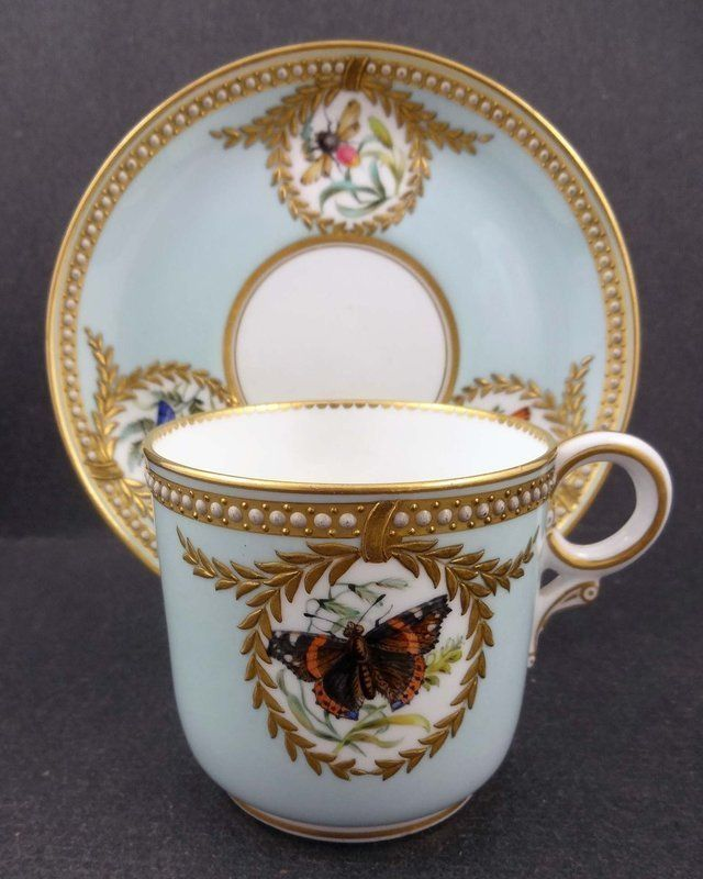 old porcelain coffee cups | Antique jewelled porcelain cup and saucer set by Royal Worcester ...