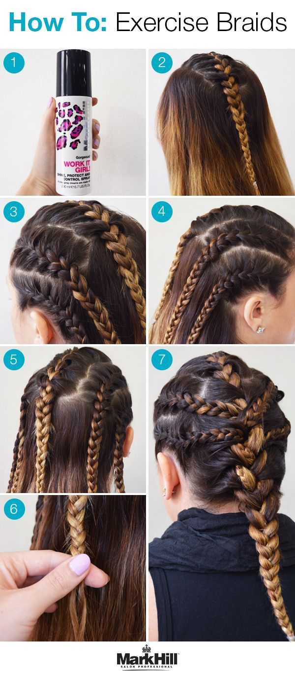 Beat the sweat and humidity of summer and gear up for your workout with this braided exercise hairstyle.