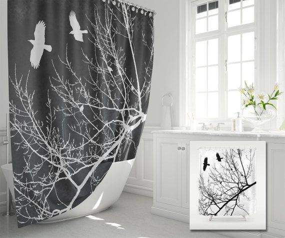 Crows And Trees Fabric Shower Curtain Flying Birds In Branches