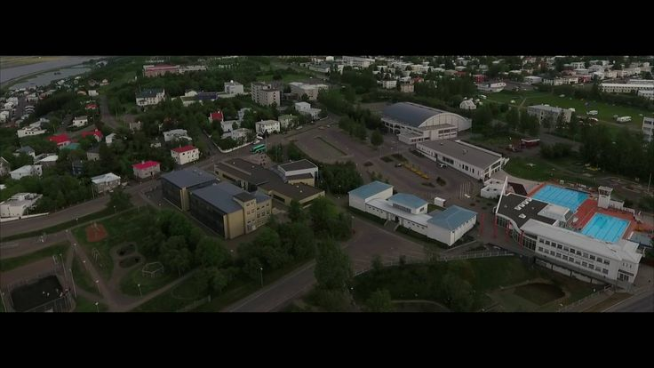 Akureyri - Capital of the north Iceland - city drone flight