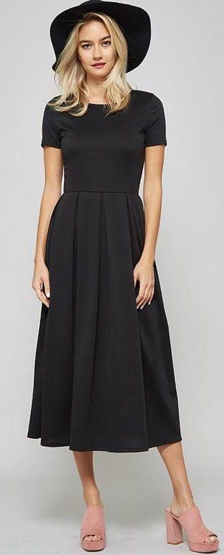 new women black short sleeve wrinkled summer long dress mode