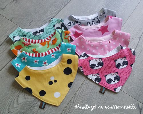Reversible bandana bibs for babies and toddlers.