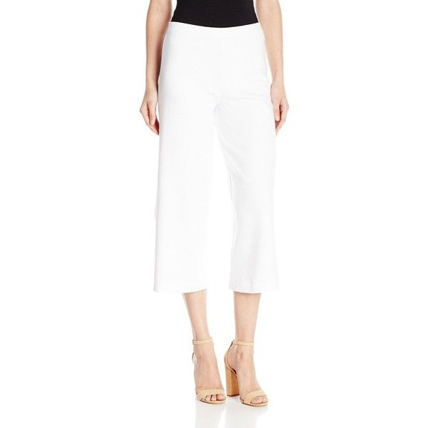 Joan Vass Women's Cropped Wide Leg Pant ($19) ❤ liked on Polyvore featuring pants, capris, white wide leg pants, cropped trousers, white crop pants, elastic waist pants and white elastic waist pants