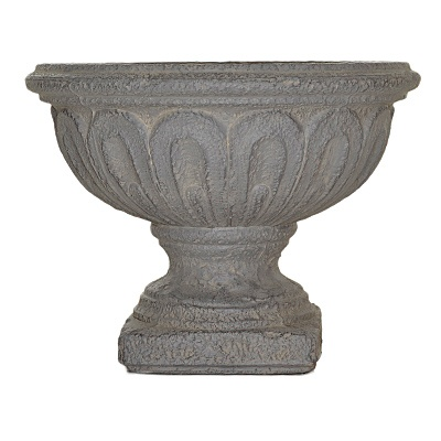 Antique Grey Pedestal Planter     List $56.99   SKU 115294   16 inches wide  13 inches high