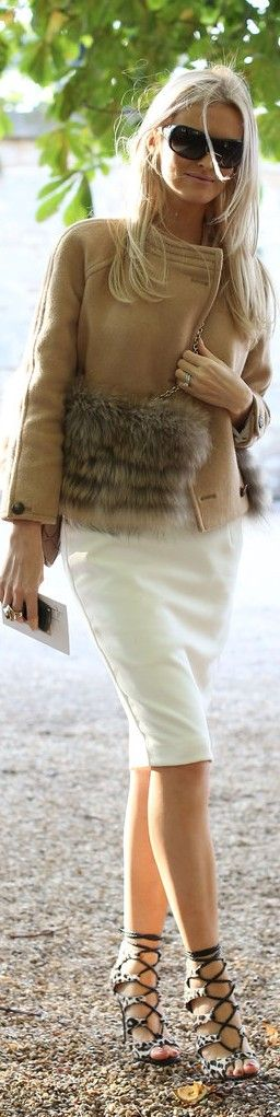 Gorgeous chic white and camel - classic and timeless style! Love the coat!