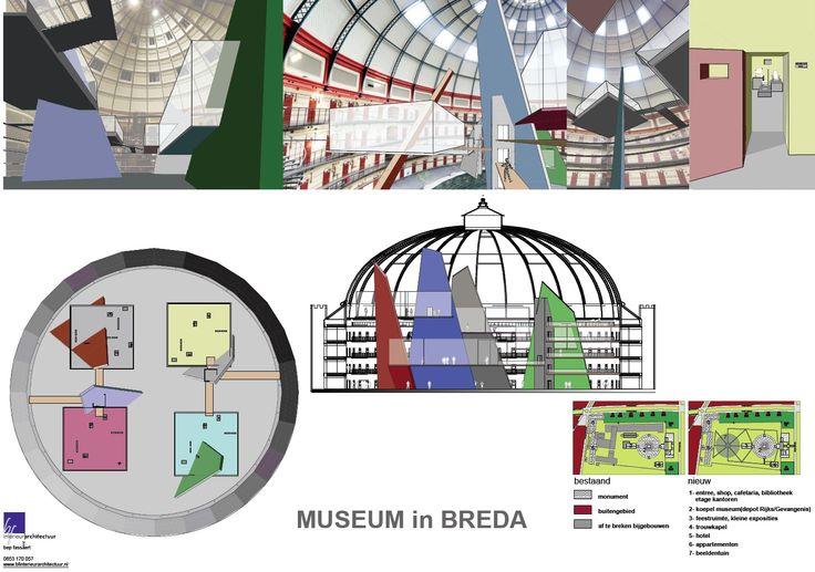 Ontwerp en idee van BFinterieurarchitectuur voor de nieuwe bestemming van de Koepelgevangenis in Breda.