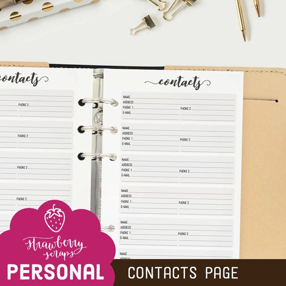 Planner inserts personal: CONTACTS Printable by StrawberryScraps