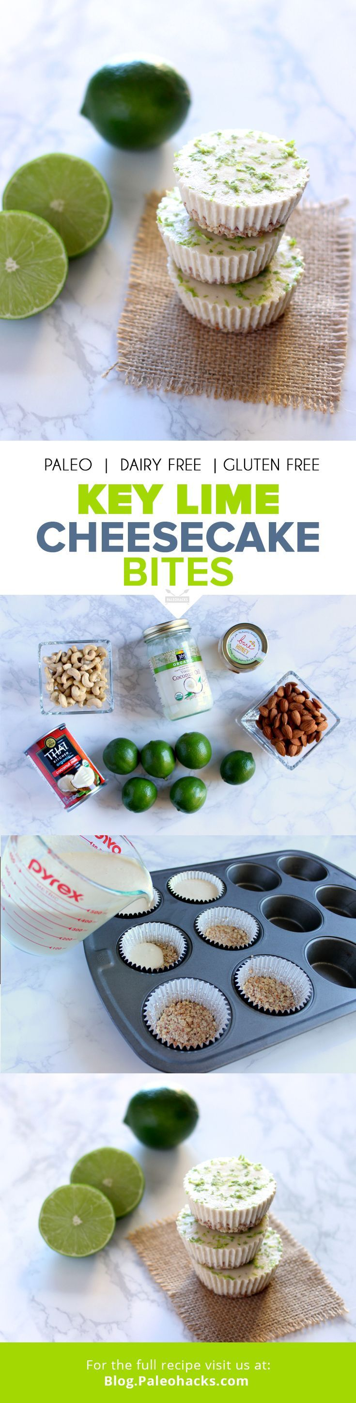 These Key Lime Cheesecake Bites make for the perfect cool dessert. The best part? No baking required! All you need is a few simple ingredients to whip up these sweet treats. Get the recipe here: http://paleo.co/keylimebites
