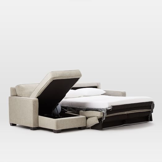 No guest room? No problem. The new Henry® 2-Piece Pull-Down Sleeper Sectional w/ Storage has a pull-out mattress and room for storage so you're aways ready for guests! west elm