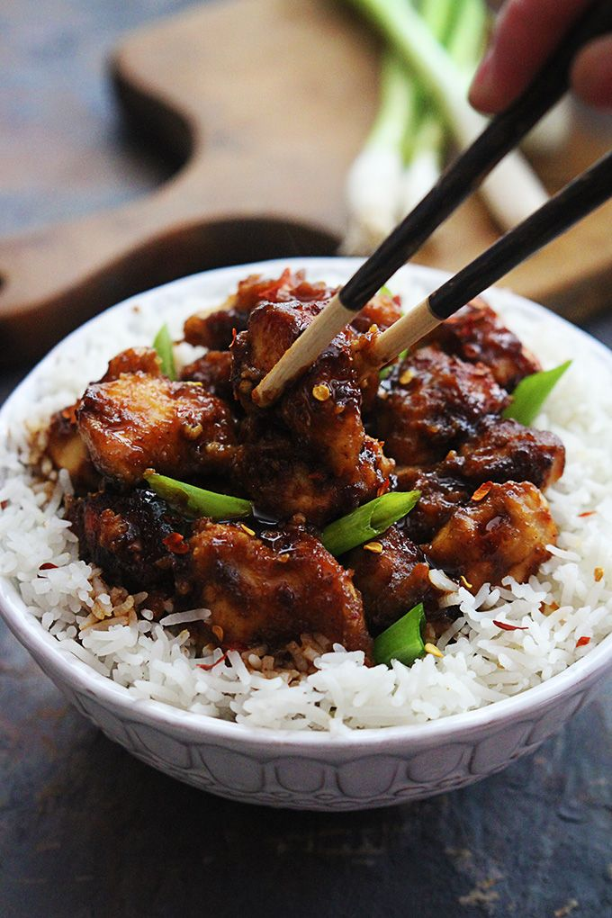 An easy slow cooker version of the family favorite General Tso's chicken and it's soooo much better than takeout!