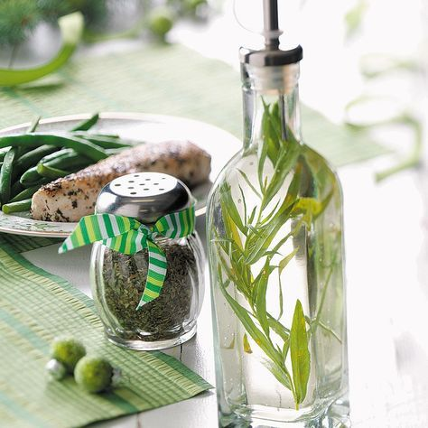 Tarragon Vinegar Recipe -Add fresh tarragon sprigs to basic white wine vinegar in a decorative jar, and you'll have a lovely, contemporary gift for a cook on your Christmas list. Include salad dressing recipes or others that could use this flavorful vinegar.