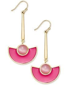 kate spade new york 14k Gold-Plated Cat's Eye Stone and Pink Enamel Drop Earrings