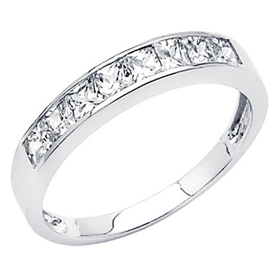 Popular White Gold Princess cut Channel Set CZ Cubic Zirconia Ladies Wedding Band Ring Size books tips