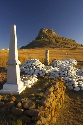 Isandlwana  - the Sphinx-shaped mountain clear in the background http://www.n3gateway.com/the-n3-gateway-route/the-battlefields-route.htm