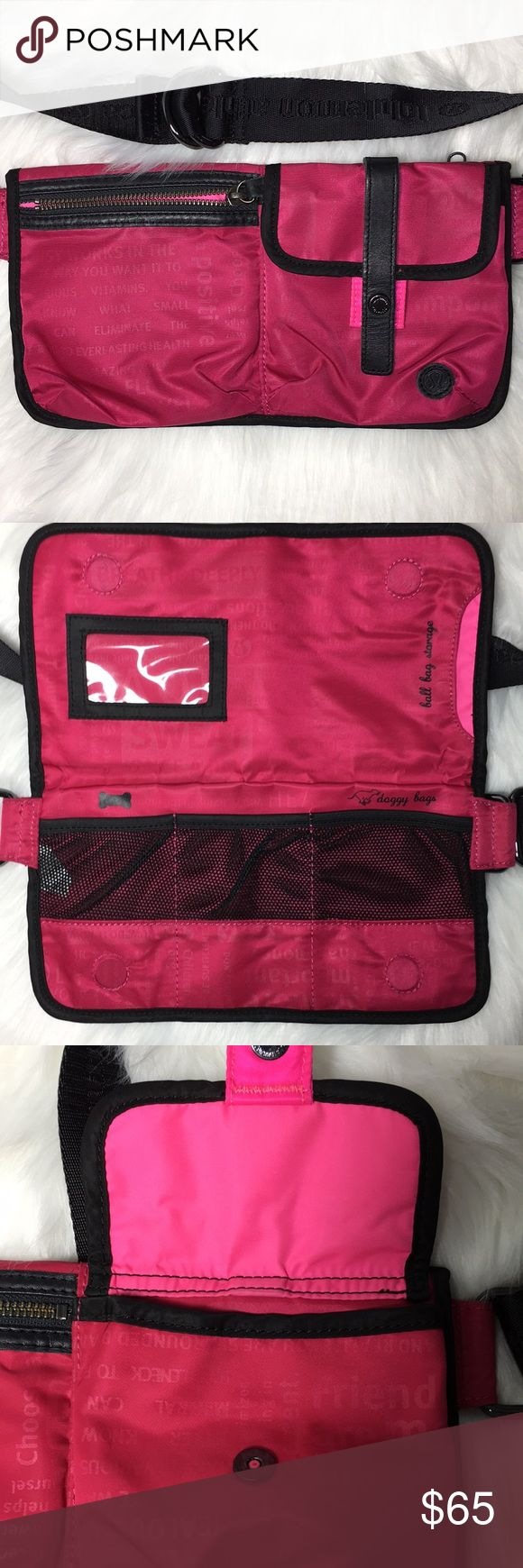 Lululemon Athletica Travel Pooch Bag Hard to find bag for dogwalking or travel. Pockets for bags, treats, and your phone. ID slot. Zip pocket in back for passport and tickets. Removable ball pouch clips to the belt and is machine washable. lululemon athletica Bags Travel Bags